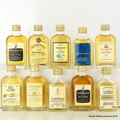 Assorted Minsi x 10 Including Linkwood 15 Year Old 5cl