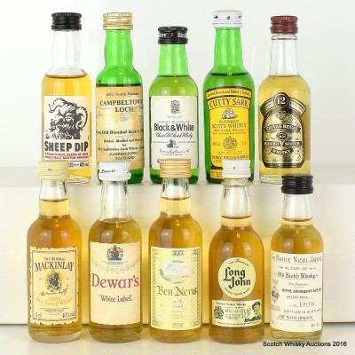 Assorted Minis x 10 Including Campbeltown Loch 5cl