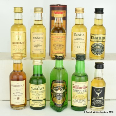Assorted Minis 10 x 5cl Including Glenmorangie 10 Year Old 5cl