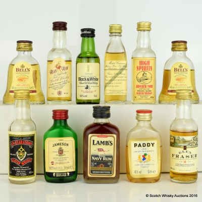 Assorted Minis 10 x 5cl Including Lamb's Navy Rum 5cl