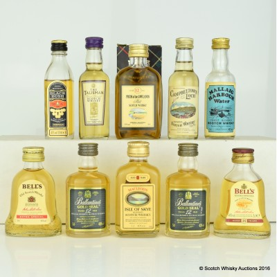 Assorted Minis 10 x 5cl Including Ballantine's Gold Seal 5cl