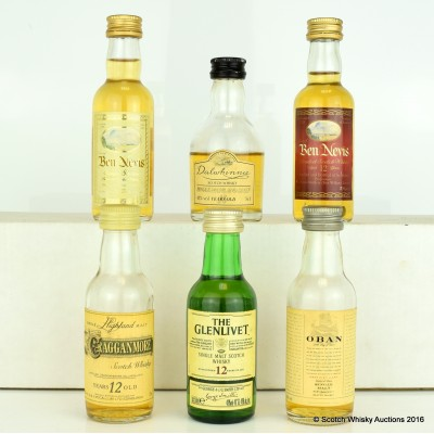 Assorted Minis 6 x 5cl Including Dalwhinnie 15 Year Old 5cl