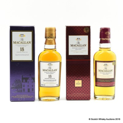 Macallan 18 Year Old Mini 5cl & Macallan Whisky Maker's Edition Mini 5cl
