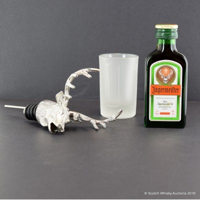 Jagermeister Mini, Shot Glass & Stag Head Pourer