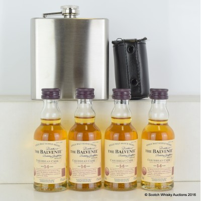 Balvenie Caribbean Cask 14 Year Old Minis 4 x 5cl, Hip Flask & Metal Shot Glasses in a leather holster.