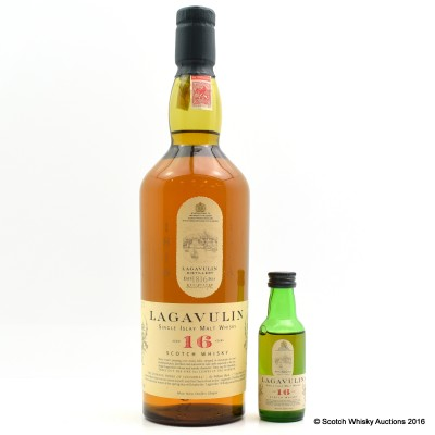 Lagavulin 16 Year Old White Horse Bottling 75cl & Matching Mini