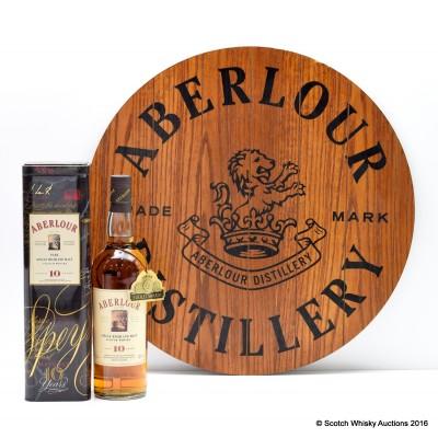 Aberlour 10 Year Old In Tin & Aberlour Wooden Plaque