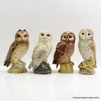 Parliament of Beneagles Royal Doulton Ceramic Owls x 4 20cl