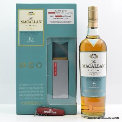 Macallan Fine Oak 15 Year Old with Pen Knife Set