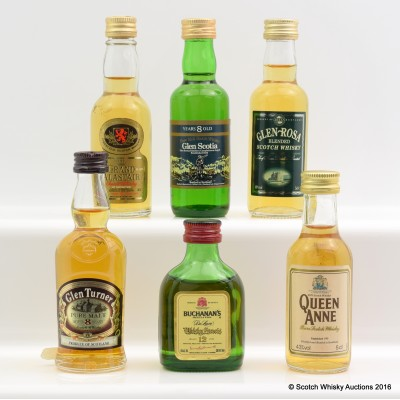 Assorted Minis 6 x 5cl Including Glen Scotia 8 Year Old 5cl