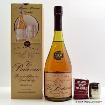 Balvenie Founder's Reserve 10 Year Old Cognac Bottle & Barrel Spirit Measure