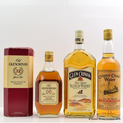 Crinan Canal Water Blend 75cl, Glen Crinan 1L & Old Glencrinan 12 Year Old 75cl