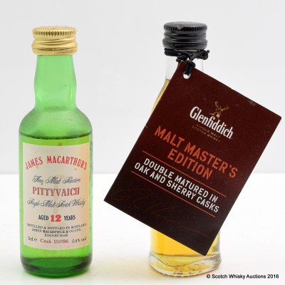Glenfiddich Malt Master's Edition Mini 5cl & Pittyvaich 12 Year Old 5cl