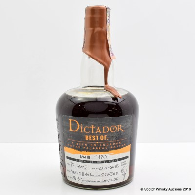 Dictador Best Of 1980 35 Year Old Rum