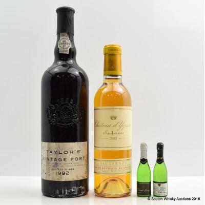 Taylor's 1992 Vintage Port 75cl, Chateau d'Yquem Sauternes 2002 37.5cl & Duval Champagne Minis x 2