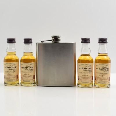 Balvenie Caribbean Cask 14 Year Old Minis 4 x 5cl & Hip Flask