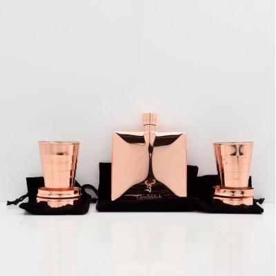 Glenfiddich Hip Flask & Glenfiddich Telescopic Copper Cup x 2