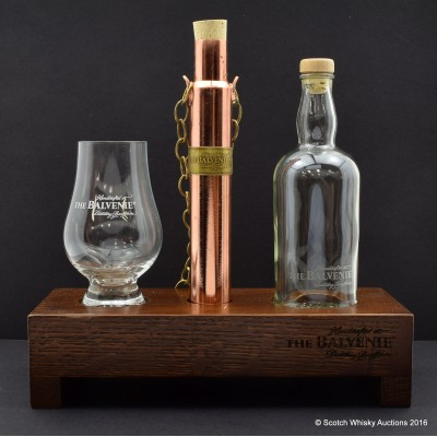 Balvenie Dipping Dog, Glass, Water Bottle & Wooden Plinth
