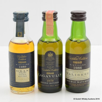 Talisker Distillers Edition 1986 Mini 5cl, Lagavulin Distillers Edition 1979 Mini 5cl & Oban Distillers Edition 1980 Mini 5cl