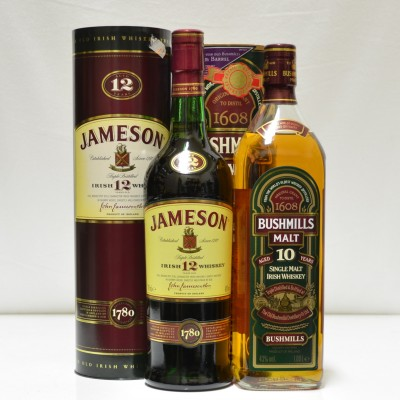 Jameson 12 Year Old & Bushmills 10 Year Old 1L