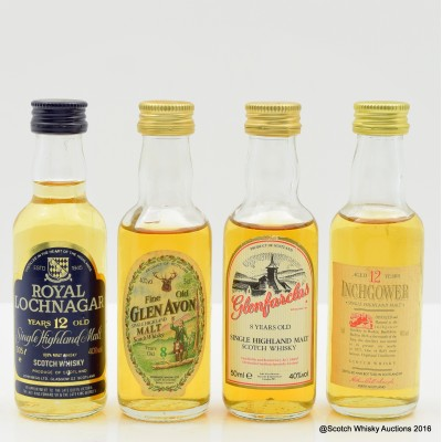 Assorted Minis 4 x 5cl Including Glenfarclas 8 Year Old 5cl