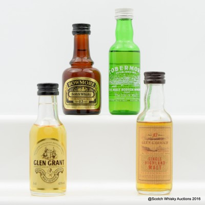 Assorted Minis 4 x 5cl Including Bowmore 12 Year Old Old Style 5cl
