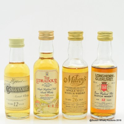 Assorted Minis 4 x 5cl Including Longmorn Glenlivet 12 Year Old Mini