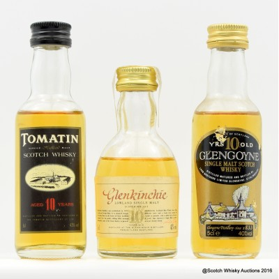 Assorted Minis 3 x 5cl Including Tomatin 10 Year Old 5cl