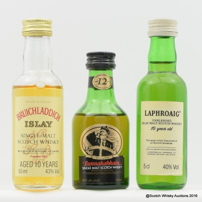 Assorted Minis 3 x 5cl Including Laphroaig Pre Royal Warrent 10 Year Old 5cl