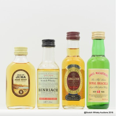 Assorted Minis 4 x 5cl Including BenRiach 10 Year Old Old Style 5cl
