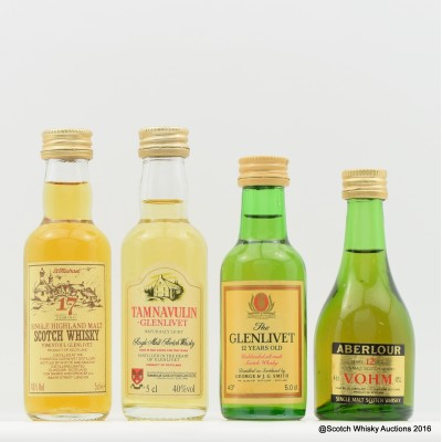 Assorted Minis 4 x 5cl Including Tomintoul 17 Year Old 5cl