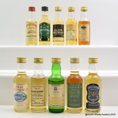 Assorted Minis 10 x 5cl Including Glen Garioch 12 Year Old