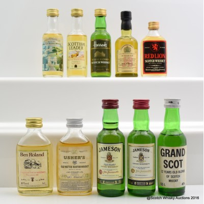Assorted Minis 10 x 5cl Including J&B 15 Year Old 5cl