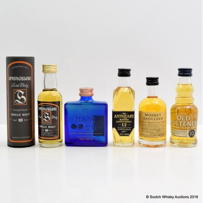 Assorted Minis 5 x 5cl Including Springbank 10 Year Old Old Style Mini 5cl