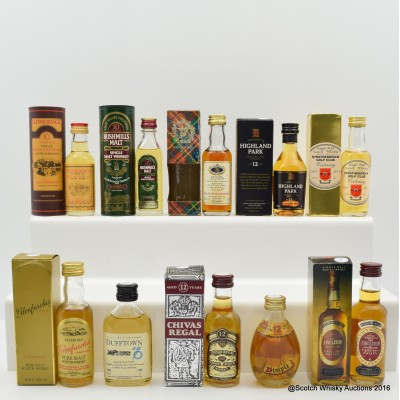 Assorted Minis 10 x 5cl Including Highland Park 12 Year Old Mini 5cl