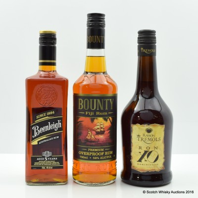 Assorted Rums 3 x 70cl Including Bounty Fiji Rum