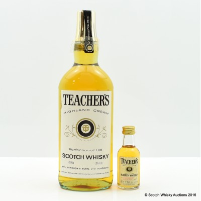 Teacher's Highland Cream 26 2/3 Fl Oz with Matching Mini 1.76 Fl Oz