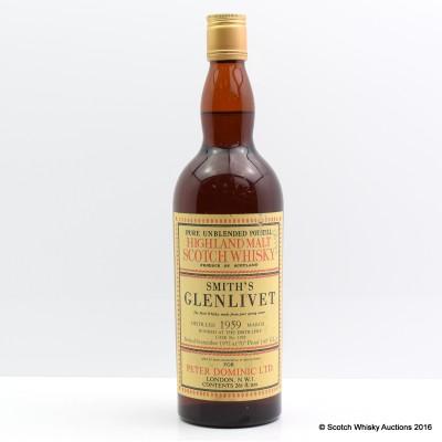 Smith's Glenlivet 1959 12 Year Old For Peter Dominic Ltd. 26 2/3 Fl Oz