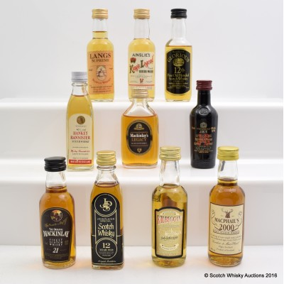 Assorted Minis x 10 Including MacKinlay 21 Year Old 5cl