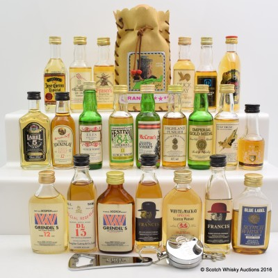 Assorted Minis x 22 Including Special Reserve 15 Year Old 5cl, Jose Guervo Bottle Opener & White Castle Brandy 18cl