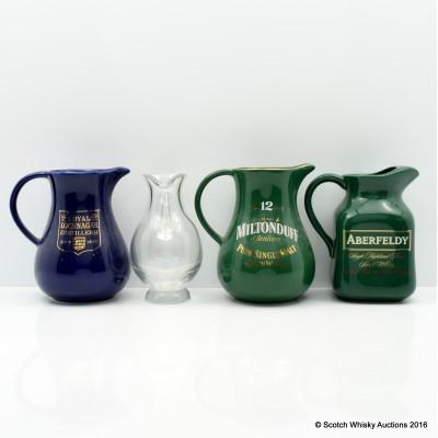 Aberfeldy, BenRiach, Miltonduff & Royal Lochnagar Water Jugs x 4