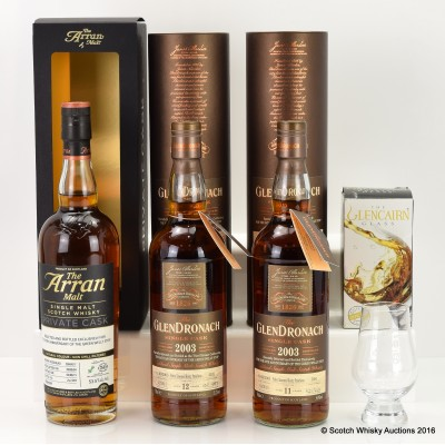 The Green Welly Stop 50th Birthday Collection- Glendronach 2003 Single Cask #5691, GlenDronach 2003 Single Cask #4102, Arran 2004 Private Cask #2004/017 & Glass