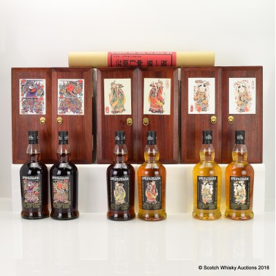 Springbank Door Gods 1st, 2nd and 3rd Edition 6 x 70cl with Posters