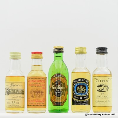 Assorted Minis 5 x 5cl Including Glenesk 12 Year Old 5cl