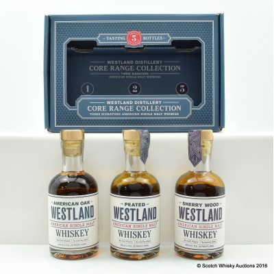 WESTLAND AMERICAN SINGLE MALT SET - SHERRY WOOD 20CL, WESTLAND 20CL & PEATED 20CL