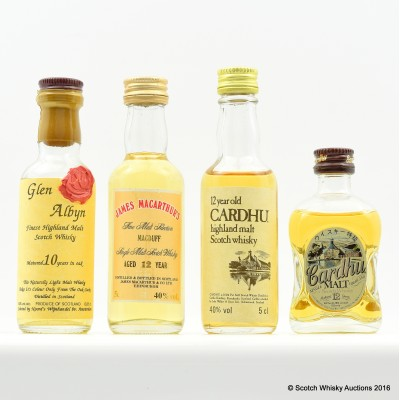 Assorted Minis 4 x 5cl Including Glen Albyn 10 Year Old 5cl