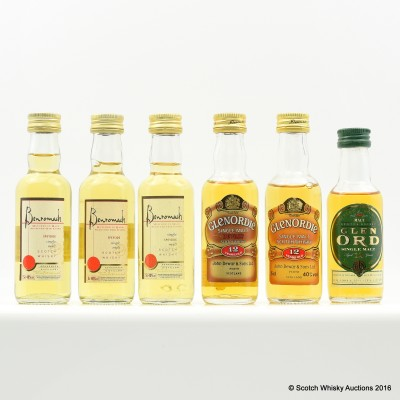 Assorted Minis 6 x 5cl Including Glen Ord 12 Year Old 5cl