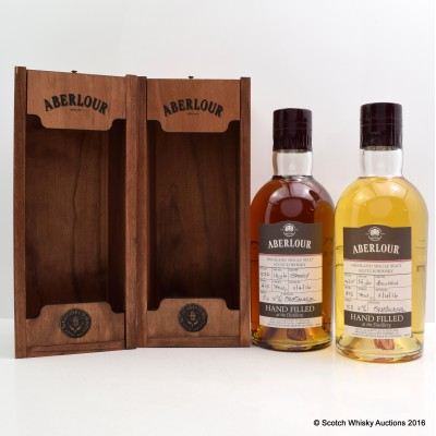 ABERLOUR 16 YEAR OLD DISTILLERY ONLY HAND FILLED SHERRY CASK & 15 YEAR OLD BOURBON CASK