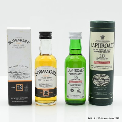 LAPHROAIG 10 YEAR OLD CASK STRENGTH MINI 5CL & BOWMORE 12 YEAR OLD MINI 5CL