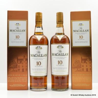 Macallan 10 Year Old x 2